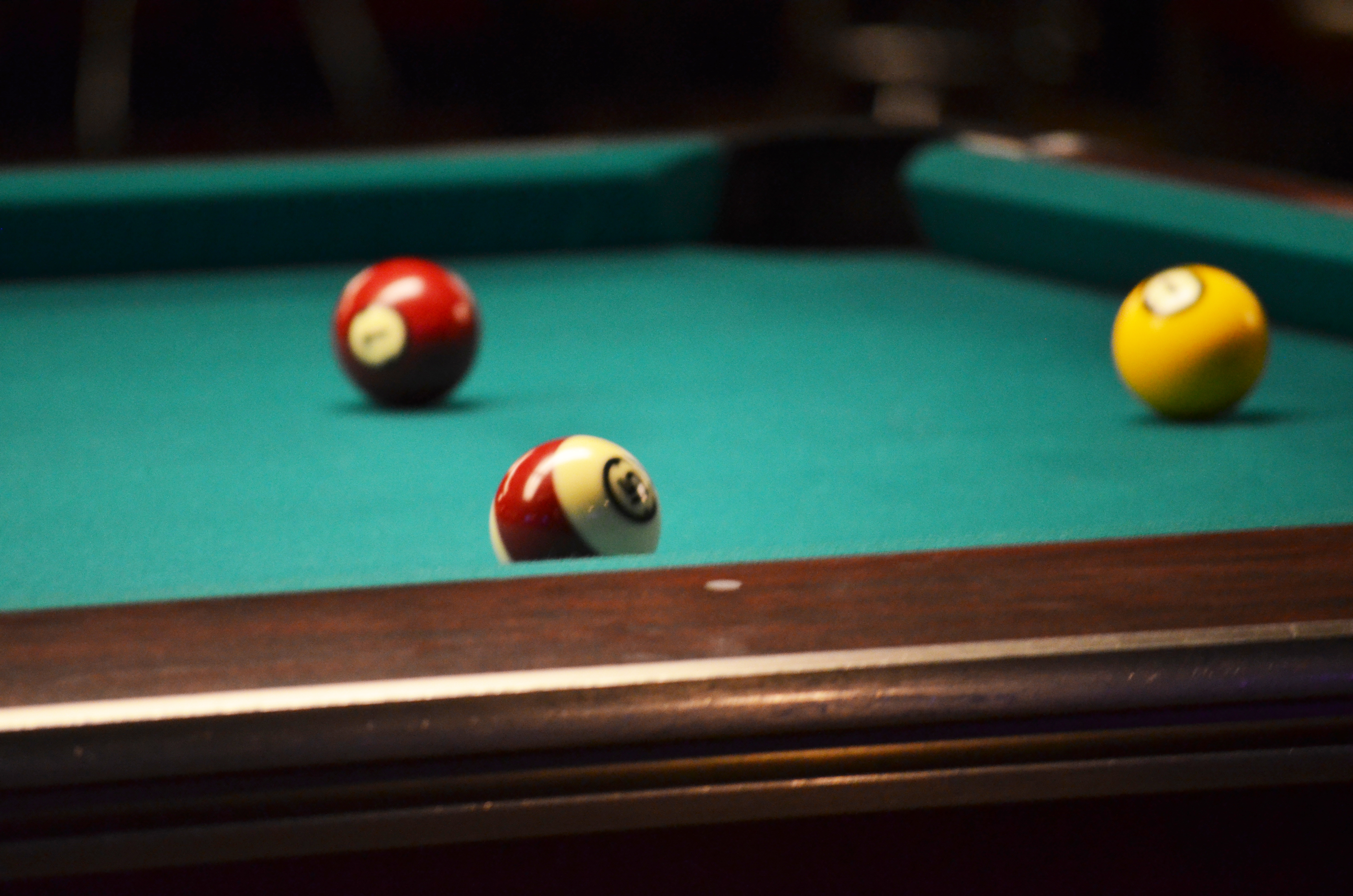 table with billiards balls